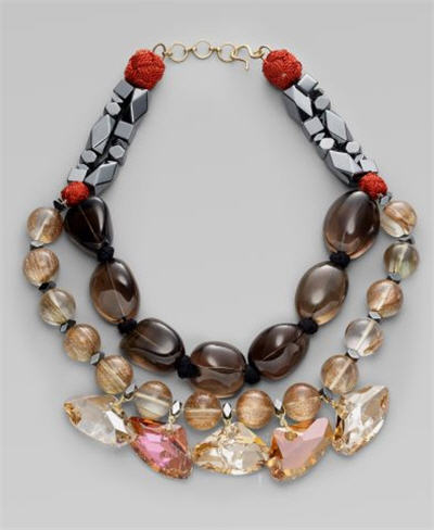 Oscar de la Renta Smoky Topaz & Hematite Triple-Strand Necklace
