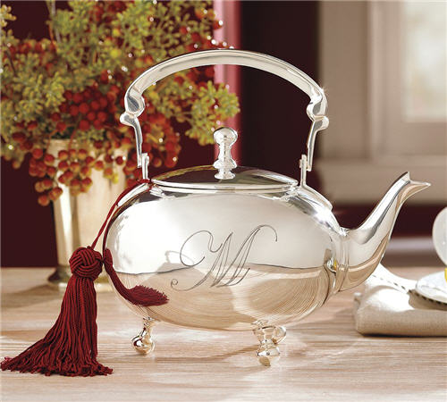 Pottery Barn Silver-Plated Engravable Teapot