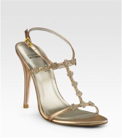 Stuart Weitzman Crystal-Embellished T-Strap Sandals