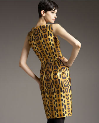 Oscar de la Renta Leopard Sheath Dress 2