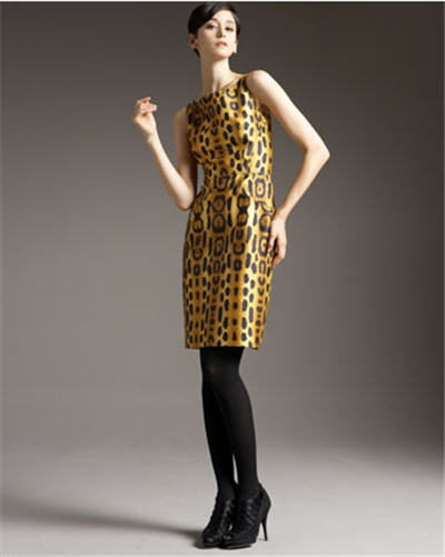 Oscar de la Renta Leopard Sheath Dress