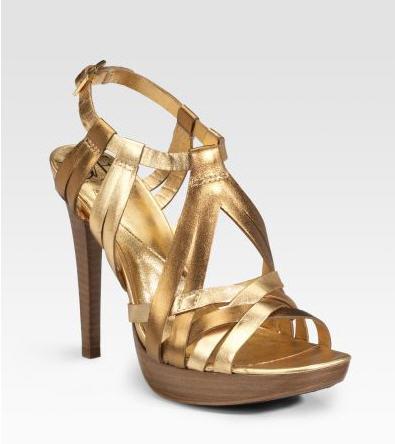Diane von Furstenberg Luxe Metallic Platform Sandals