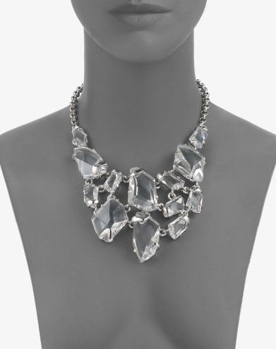 Kenneth Jay Lane Faceted Crystal Bib Necklace Silver 2