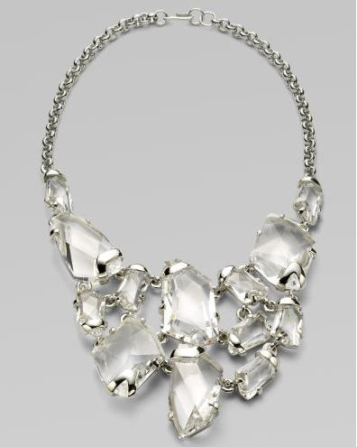 Kenneth Jay Lane Faceted Crystal Bib Necklace Silver