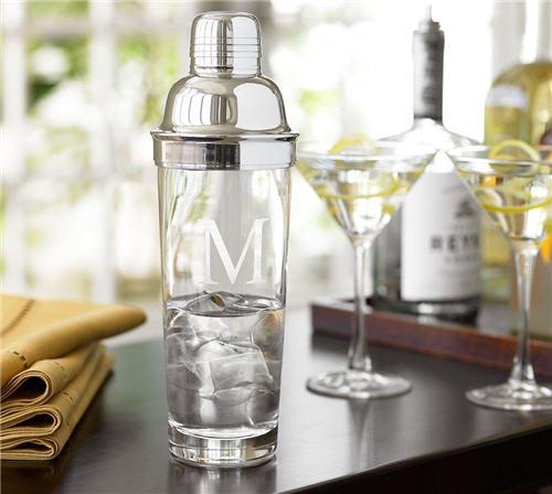Monogrammed Glass Cocktail Shaker