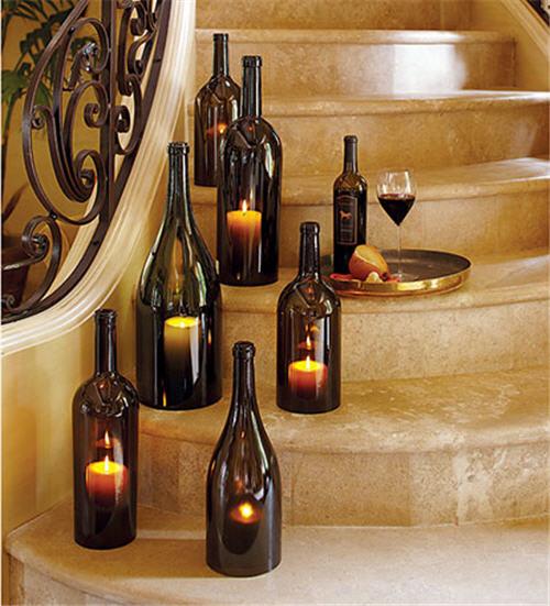 Big Wine Bottles Make Lovely Candle Holders