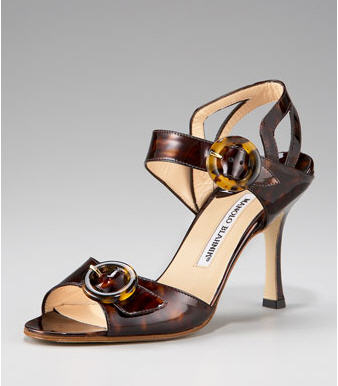 Manolo Blahnik Patent Buckle Sandal