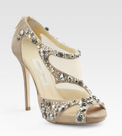 Jimmy Choo Embellished Open-Toe Ankle Boots