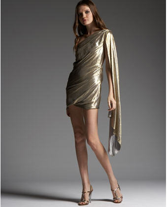 The Marc Jacobs Draped Metallic Silk Dress ($2900) is slinky and sexy from ...