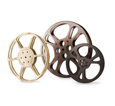 reels of film. These oversized film reels are