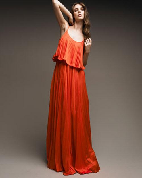 halston heritage pleated silk dress
