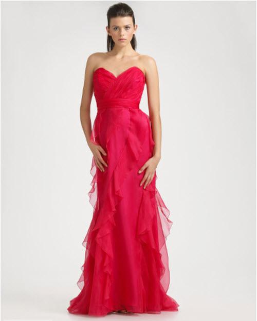 Badgley Mischka Platinum Label Strapless Ruffled Silk Gown
