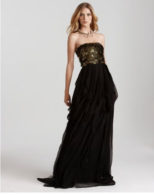 "Diane von Furstenberg ""Emali"" Strapless Gown with Sequin Top"