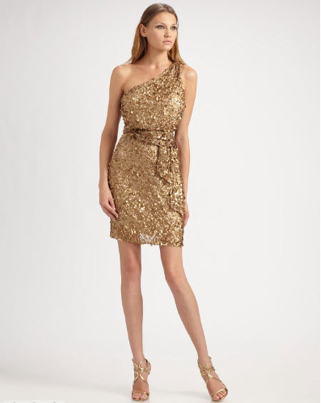 Aidan Mattox Sequined One-Shoulder Dress