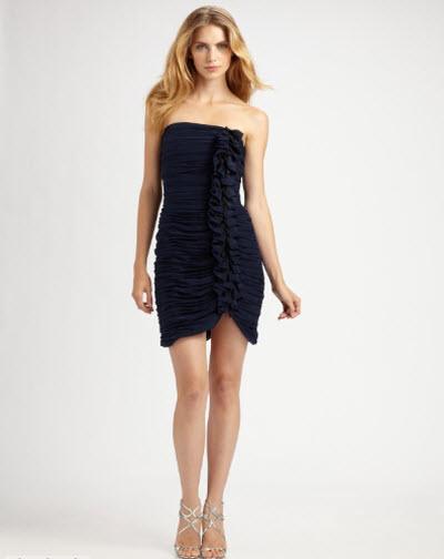 Shoshanna Ruffle Ruched Strapless Dress