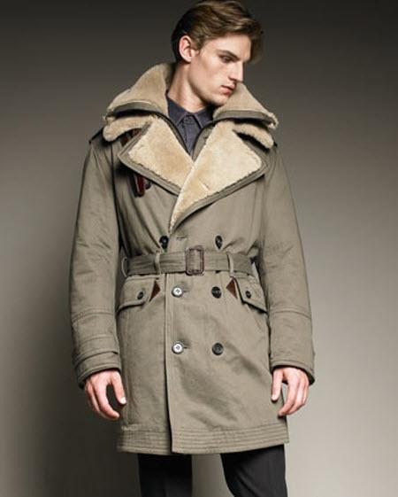 Men's Burberry Shearling-Trim Trench Coat