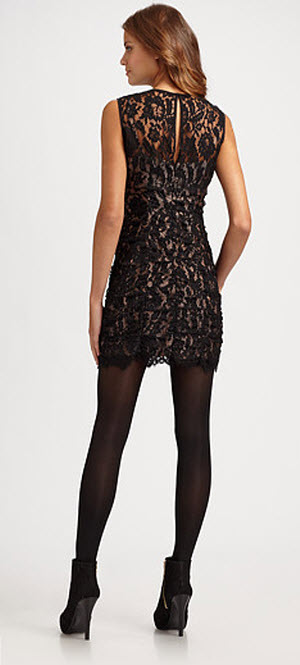 Cocktail dress with black tights re re
