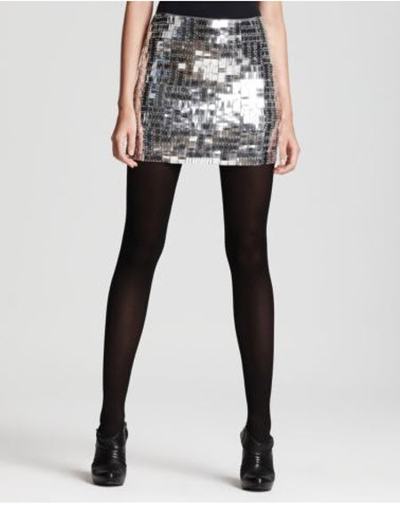 "Alice + Olivia ""Jada"" Sequined Mini Skirt :  sequined mini silver alice olivia"