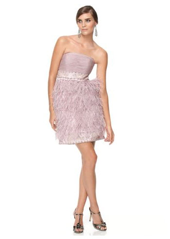 Sue Wong Strapless Feather Dress