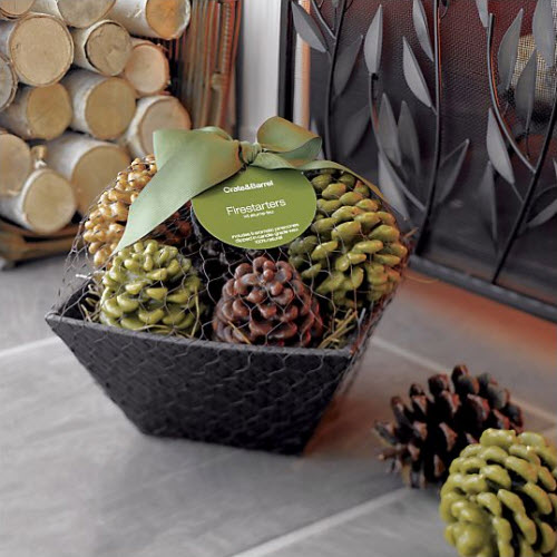Crate And Barrel Pinecone Fire Starters In A Basket