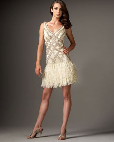Sue wong feather bottom sequined dress for Wedding dress with feathers on bottom