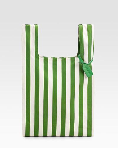 jil sander striped canvas market bag