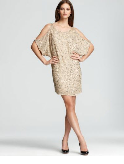 Aidan Mattox Sequined Shirt Dress