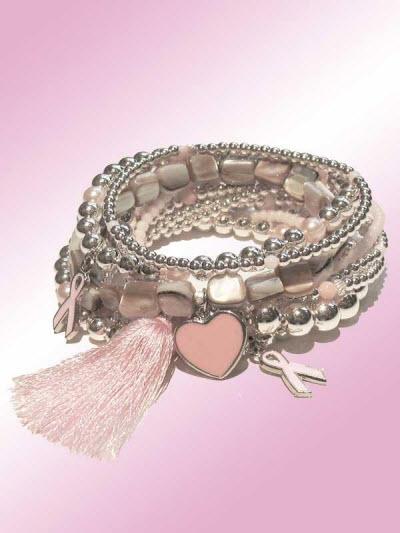 Miller 2011 breast cancer awareness bead and charm bracelet set