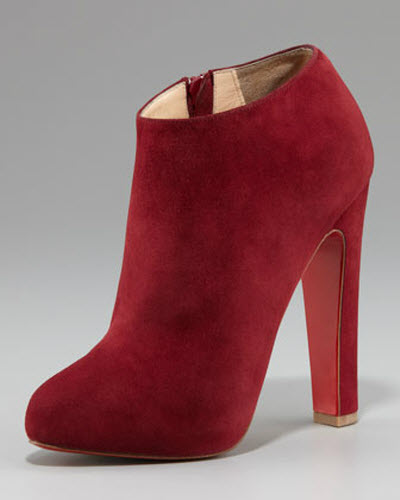 separation shoes 20925 92337 Shoe of the Day: Christian Louboutin Suede Thick-Heel Bootie