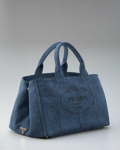 prada handbag replicas - Prada Denim Logo Tote