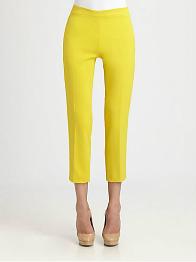 Akris Punto Cropped Arched Yoke Pants