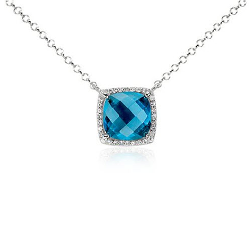 Blue Topaz and White Topaz Halo Necklace
