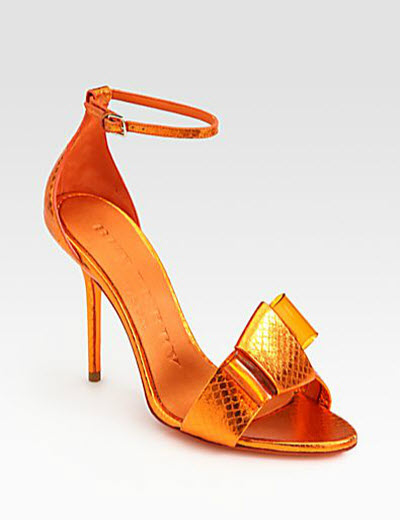 Burberry Prorsum Berkeley Snakeskin Bow Sandals
