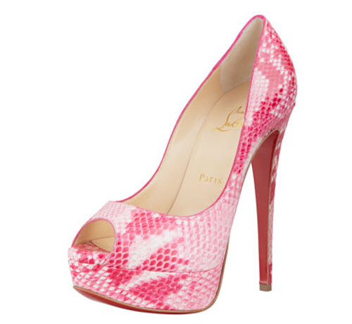 Christian Louboutin Lady Peep Python Red Sole Pump