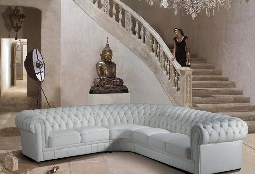 Paris Ultra Modern White Leather Sectional Sofa