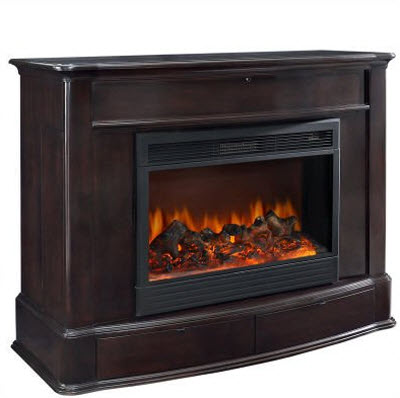 Soho Electric Fireplace TV Lift Cabinet in Dark Wood 2