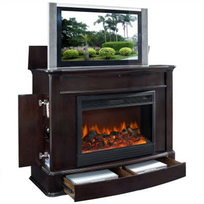 Soho Electric Fireplace TV Lift Cabinet in Dark Wood 3