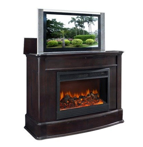 Soho Electric Fireplace TV Lift Cabinet in Dark Wood