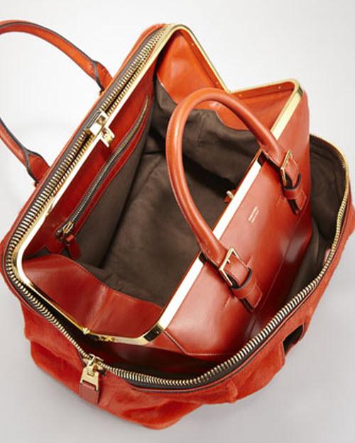 Tom Ford Petra Zip Frame Calf Hair & Brushed Calf Leather Tote Bag-in-Bag