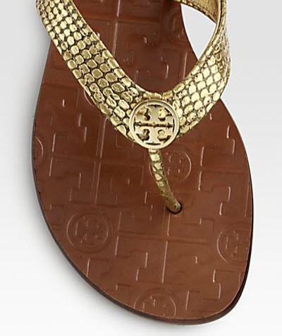 Tory Burch Thora Metallic Snake-Print Leather Thong Sandals 2