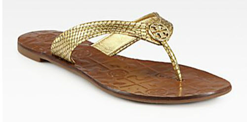 Tory Burch Thora Metallic Snake-Print Leather Thong Sandals