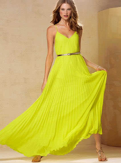 Victoria's Secret Knife Pleat Maxi Dress