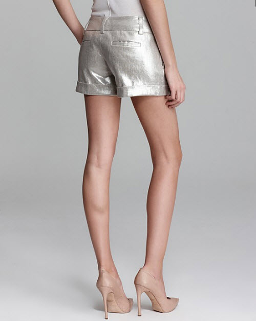 Alice + Olivia Cady Cuff Metallic Shorts 2