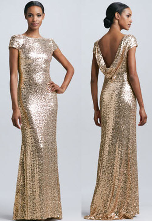 Badgley Mischka Sequined Cowl-Back Gown 3