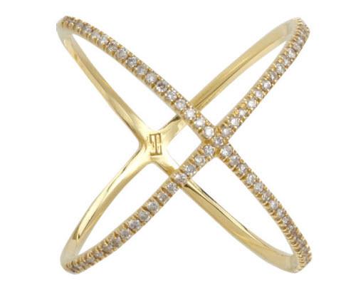 Eva Fehren Champagne Diamond 'X' Ring
