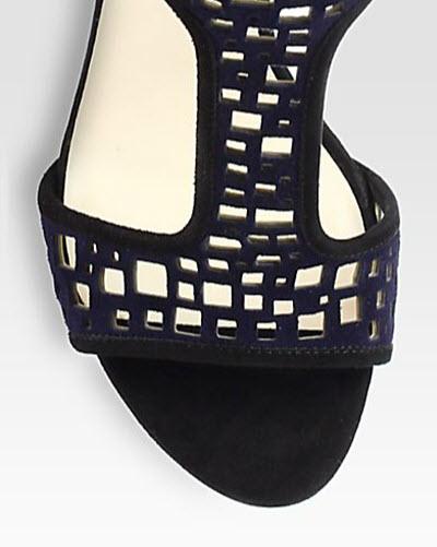 Giorgio Armani Suede T-Strap Sandals 2