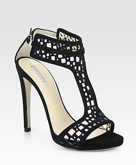 Giorgio Armani Suede T-Strap Sandals