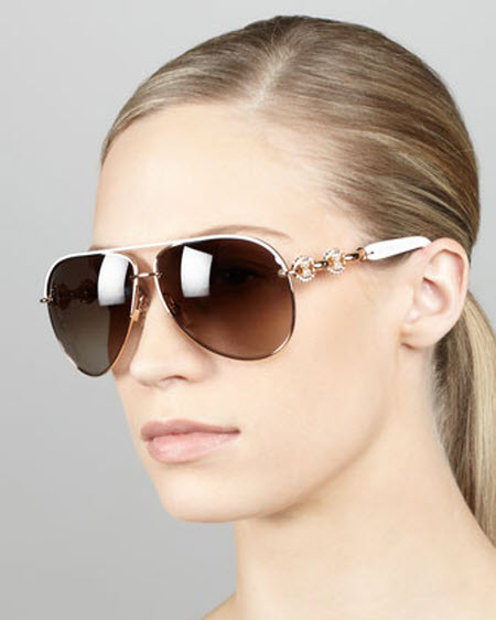 Gucci Crystal-Temple Aviator Sunglasses