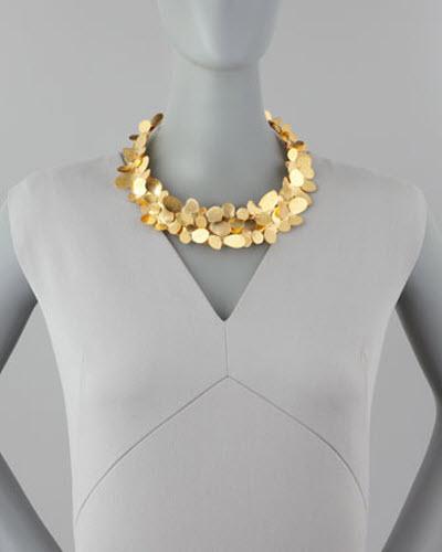 Herve Van Der Straeten Gold Petal Collar Necklace 2