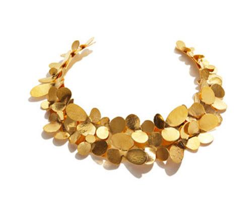 Herve Van Der Straeten Gold Petal Collar Necklace